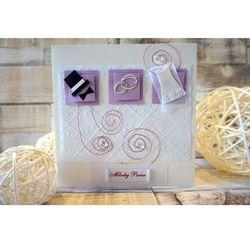 Karnet Ślubny Symbole ślubne z fioletowym akcentem
