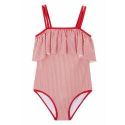 Kostium kąpielowy dziewczęcy bonprix czerwono-biały w paski