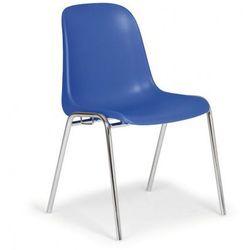 Plastikowe krzesło kuchenne ELENA, niebieski - chromowane nogi