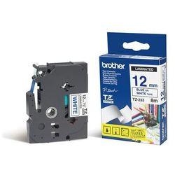 BROTHER Taśmy do drukarek TZ laminowane 12mm x 8m, niebieski/biały