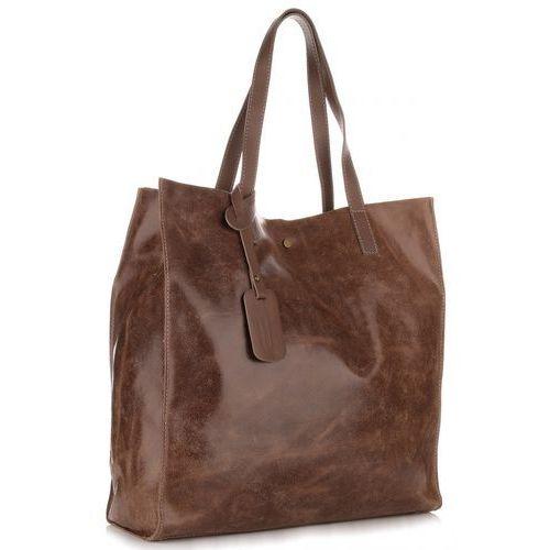 Torebki, Torba Skórzana Shopper Bag z Kosmetyczką Brąz (kolory)