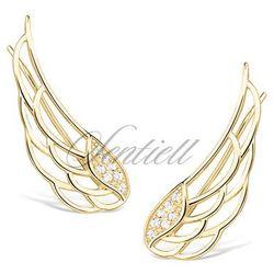 Srebrne kolczyki pr. 925 nausznice skrzydła z cyrkoniami pozłacane - Żółte złoto