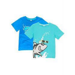 T-shirt chłopięcy z bawełny organicznej (2 szt.) bonprix morsko-lodowy niebieski