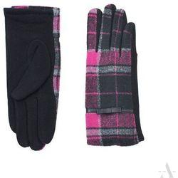 Rękawiczki damskie w klasyczną czarno-różową kratę - czarny ||różowy SZALIKI, CZAPKI, RĘKAWICZKI (-20%)