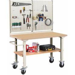 Mobilny stół warsztatowy ROBUST, z wyposażeniem,1500x800 mm, płyta utwardzana