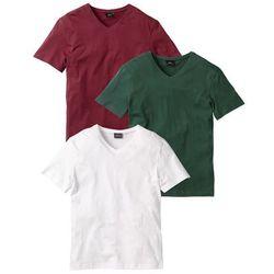 T-shirt z dekoltem w serek (3 szt.) Regular Fit bonprix bordowy + ciemnozielony + biały