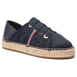 Espadryle TOMMY HILFIGER - Flat Espadrille Corporate Ribbon FW0FW03801 Midnight 403