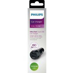 Ładowarka Philips ŁADOWARKA samochodowa 2xUSB 5V, 3.1A, 15.5W, czarna / PHILIPS - DLP2357/10 Darmowy odbiór w 21 miastach!