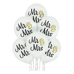 """Balony pastelowe z nadrukiem weselnym Mr & Mrs - 12"""" - 6 szt."""