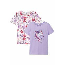 T-shirt dziewczęcy (2 szt.), bawełna organiczna bonprix biel wełny - kremowy bez