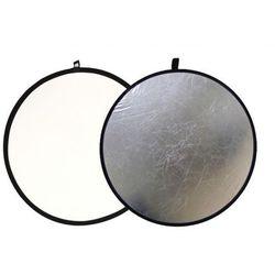Blenda fotograficzna okrągła 2w1 biało-srebrna 60cm