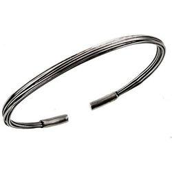 Elegancka okrągła otwarta oksydowana srebrna gładka sztywna bransoleta srebro 925 B0791