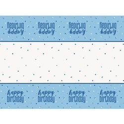 Obrus urodzinowy niebieski Happy Birthday - 137 x 213 cm - 1 szt.