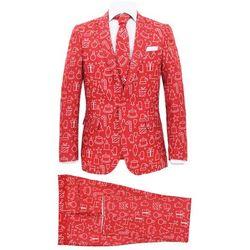 Świąteczny garnitur męski z krawatem, 2-częściowy, 48, czerwony