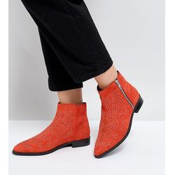 ASOS AUTO PILOT Wide Fit Suede Studded Ankle Boots - Red
