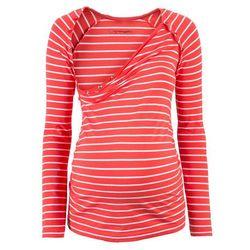 Shirt ciążowy i do karmienia piersią, z napami bonprix koralowo-biały w paski