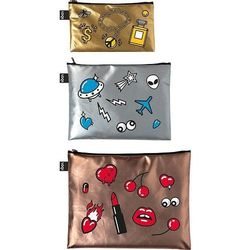Saszetki Zip Pockets Metallic Matt Pop Gold, Silver, Rose Gold 3 szt.