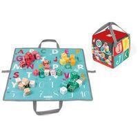 Zabawki z drewna, Klocki drewniane z matą do zabawy Janod - Kubix 40 szt. Litery i Cyfry J08077