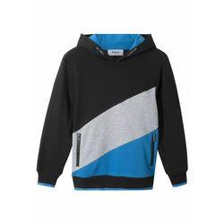 """Bluza chłopięca z kapturem """"colour-blocking"""" bonprix czarno-jasnoszary melanż - niebieski"""