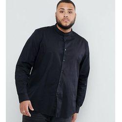 ASOS DESIGN Plus Stretch Regular Fit Shirt In Black With Grandad Collar - Black