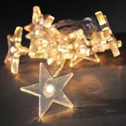 Wspaniały łańcuch z przejrzystymi gwiazdami LED 2m