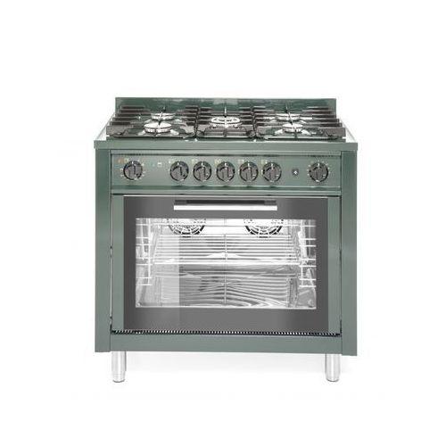Piece i płyty grzejne gastronomiczne, Hendi Kuchnia gazowa 5-palnikowa z konwekcyjnym piekarnikiem elektrycznym i z grillem | zielona - kod Product ID