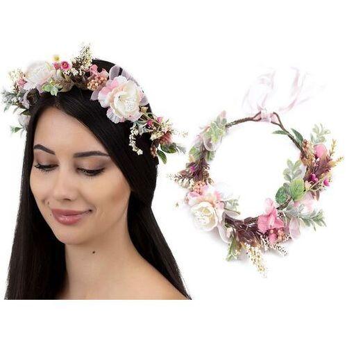 Pozostała biżuteria, Wianek na głowę boho kwiaty pudrowy rustykalny