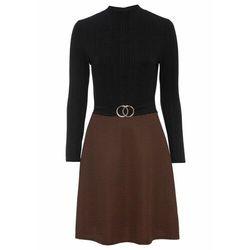 Sukienka z aplikacją bonprix czarno-brązowy z nadrukiem