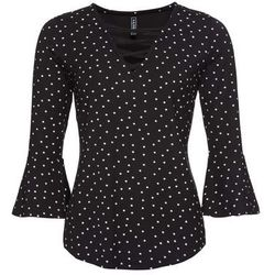 Shirt, krótki rękaw bonprix pistacjowo-biel wełny