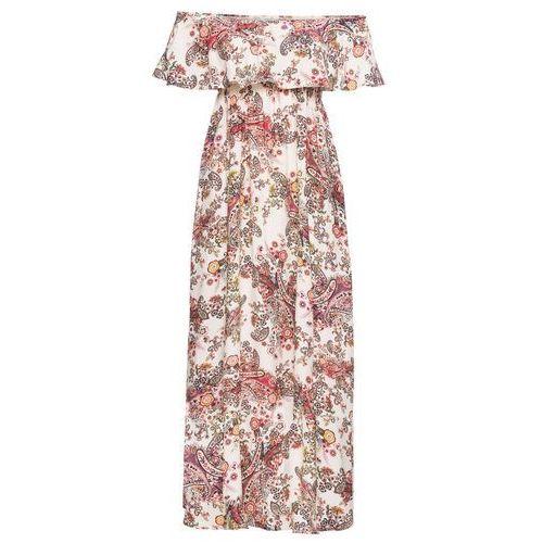 """Suknie i sukienki, Sukienka z dekoltem '""""carmen"""" bonprix beżowy z nadrukiem"""