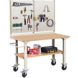 Mobilny stół roboczy ROBUST, z wyposażeniem,1500x800 mm, płyta HDF