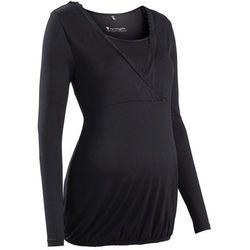 Shirt ciążowy i do karmienia, z koronkową wstawką, długi rękaw bonprix czarny