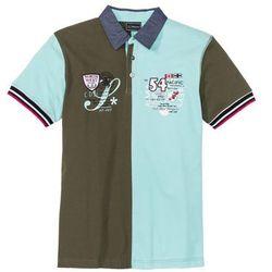 """Shirt polo """"colorblocking"""" Regular Fit bonprix ciemnooliwkowo-zielony miętowy"""