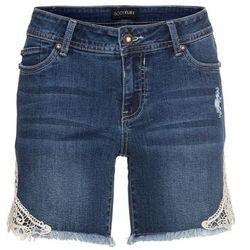 """Szorty dżinsowe z koronką bonprix niebieski """"stone"""""""