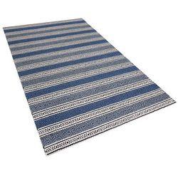 Dywan niebiesko-szary - 140x200 cm - wełna - chodnik - kilim - PATNOS