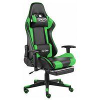 Fotele dla graczy, Czarno-zielony fotel tapicerowany z regulacją oparcia - Divinity