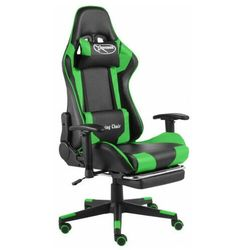 Czarno-zielony fotel tapicerowany z regulacją oparcia - Divinity