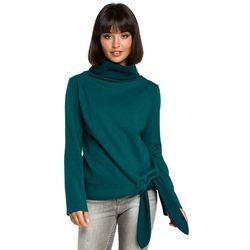 Zielona Elegancka Bluza z Wysokim Kołnierzem