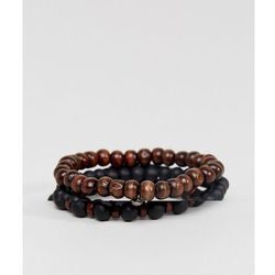ASOS DESIGN Beaded Bracelet Pack In Black And Brown With Skull - Black