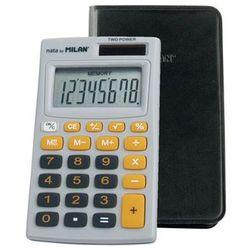Kalkulator Milan kieszonkowy w etui 8 pozycyjny, szaro - pomarańczowy