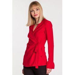 Czerwona bluzka kopertowa - Duet Woamn