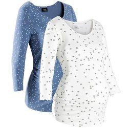 Shirt ciążowy z nadrukiem (2 szt.), bawełna organiczna bonprix niebieski dżins + biały z nadrukiem