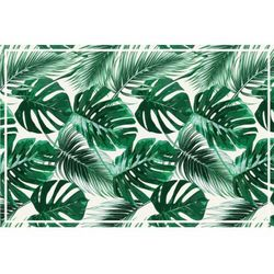Winylowy dywan SIERRANA w etnicznym stylu – 120 × 180 cm – kolor zielony i biały