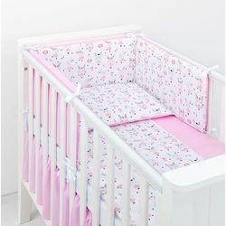 MAMO-TATO Ochraniacz do łóżeczka 60x120 BEST Zajączki białe / róż