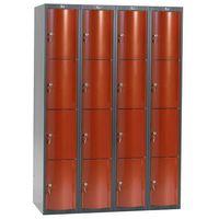 Pozostała odzież robocza i BHP, Metalowa szafa ubraniowa CURVE, 4x4 drzwi, 1740x1200x550 mm, czerwony