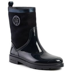 Kalosze TOMMY HILFIGER - Warmlined Suede Rain Boot FW0FW03976 Midnight 403