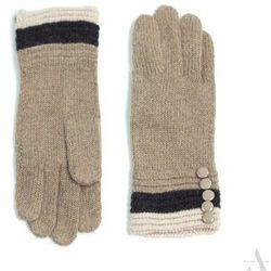 Dzianinowe rękawiczki damskie z guziczkami beżowe - brązowy ||beżowy ||kremowy