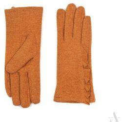 Ocieplane rękawiczki damskie z falbanką pomarańczowe - szary