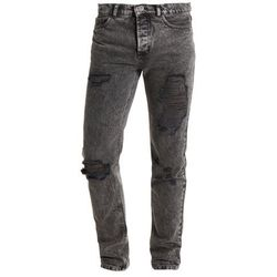Mennace WALLACE IN WASHED EXTREME RIPS AND TURN UPS Jeansy Slim Fit black wash