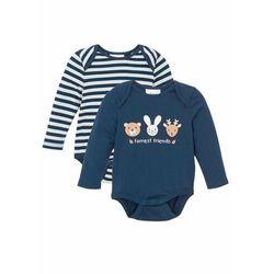 Body niemowlęce bonprix ciemnoniebiesko-srebrny w paski